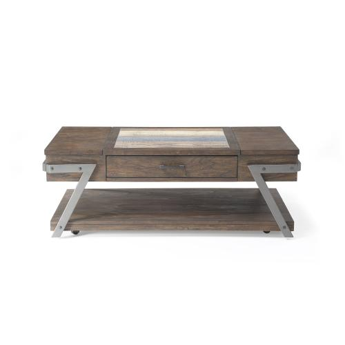 Emerald Home Ferndale Rectangular Cocktail Table W/tile Insert Top, Metal Legs and Casters Dark Brown T614-00