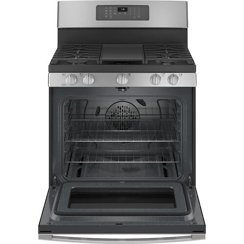"""GE Appliances Canada - GE 30"""" Freestanding Gas Convection Range with No Preheat Air Fry Stainless Steel - JCGB735SPSS"""