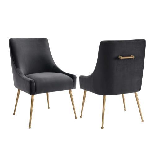 Beatrix Grey Velvet Side Chair