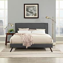 View Product - Amaris King Fabric Platform Bed with Round Splayed Legs in Gray