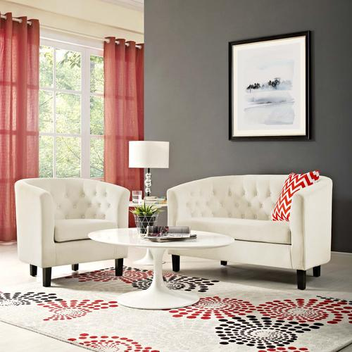 Modway - Prospect 2 Piece Performance Velvet Loveseat and Armchair Set in Ivory