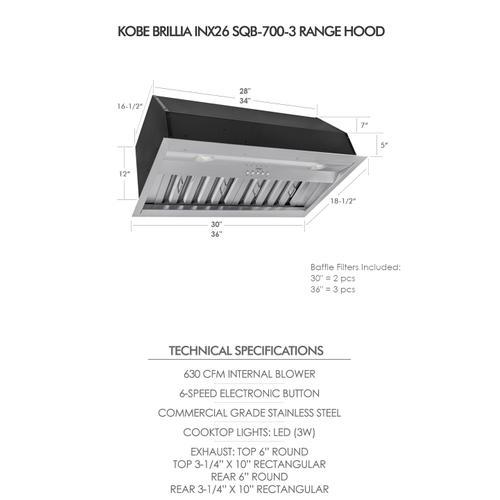 "Kobe - 30"" Built In / Insert - Brillia INX26 SQB-700-3 Series"