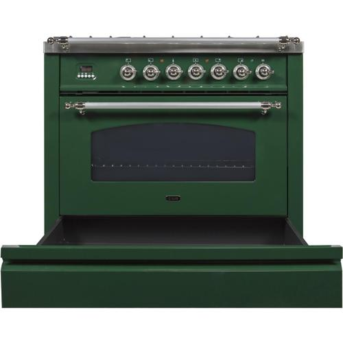 Nostalgie 36 Inch Dual Fuel Natural Gas Freestanding Range in Emerald Green with Chrome Trim