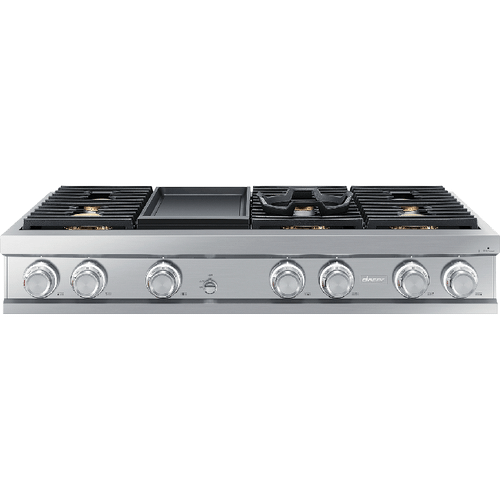 "48"" Rangetop, Silver Stainless Steel, Liquid Propane"