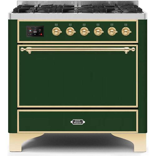 Gallery - Majestic II 36 Inch Dual Fuel Natural Gas Freestanding Range in Emerald Green with Brass Trim
