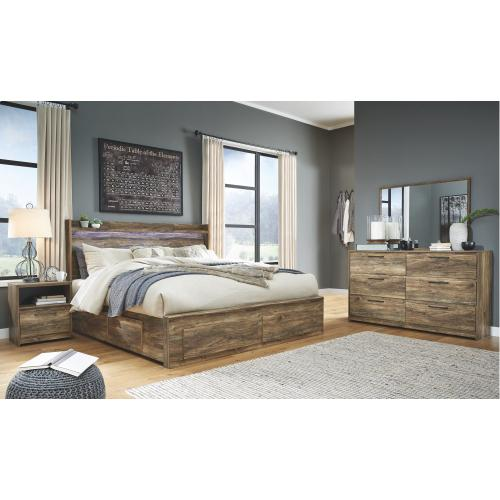 King Panel Bed With 6 Storage Drawers With Dresser