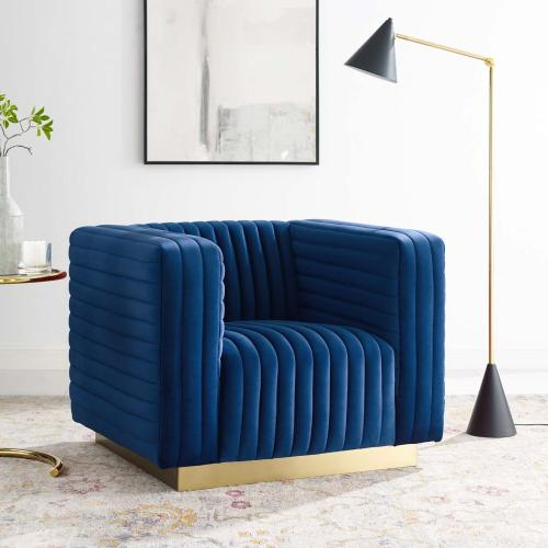 Modway - Charisma Channel Tufted Performance Velvet Accent Armchair in Navy