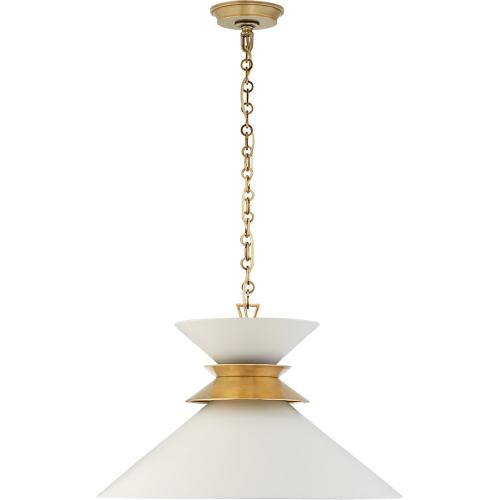 Visual Comfort CHC5245AB-WHT E. F. Chapman Alborg 1 Light 24 inch Antique-Burnished Brass Pendant Ceiling Light in Matte White, Large Stacked