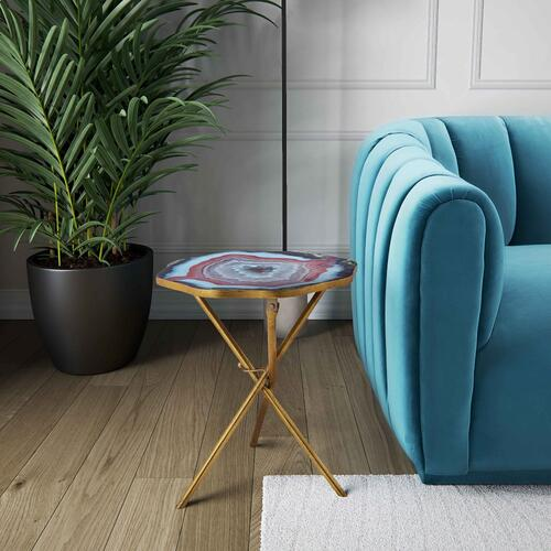 Tov Furniture - Lava Blue Agate Side Table
