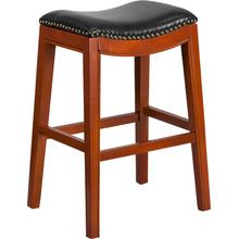 30'' High Backless Light Cherry Wood Barstool with Black LeatherSoft Saddle Seat