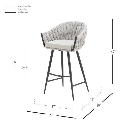 Fabian KD Fabric/ PU Bar Stool w/ Arms, Alpine Light Gray/ Fairfax Gray