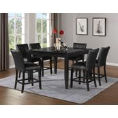 Markina 7 Piece Square Black Marble Top Counter Set(Counter Table & 6 Counter Chairs)