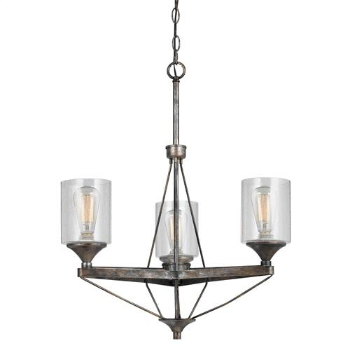 3 Lights Cresco Metal Chandelier (Edison Bulbs Not Included)