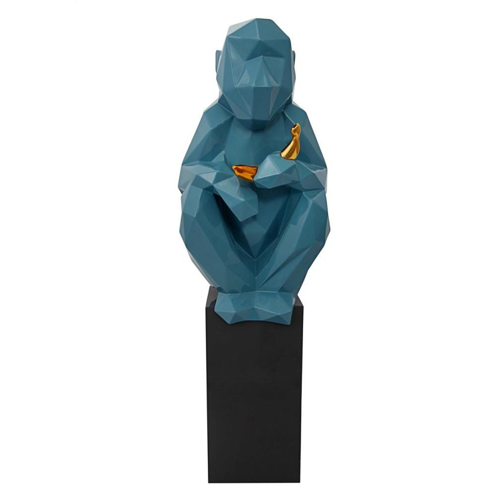 Monkey and Banana Large Sculpture - Blue and Gold