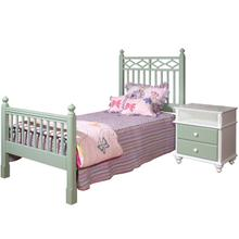 """View Product - Garden Gate Twin Diamond Bed Platform Style with Regular Footboard (for mattress only, 11"""" from floor)"""