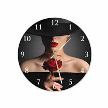 Women With Rose Round Square Acrylic Wall Clock