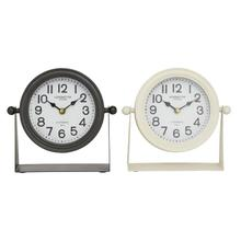 "METAL TABLE CLOCK, 2/ASST 8""W, 8""H"