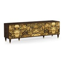 Dark Gold Walnut & Hand Painted TV Cabinet