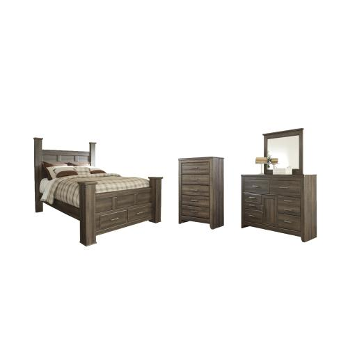 Ashley - Queen Poster Bed With 2 Storage Drawers With Mirrored Dresser and Chest