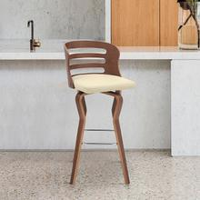 """View Product - Verne 26"""" Swivel Cream Faux Leather and Walnut Wood Bar Stool"""