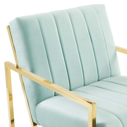 Modway - Inspire Channel Tufted Performance Velvet Armchair in Mint