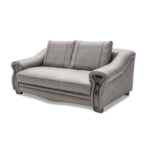 Gabriella Leather LoveSeat in LightGrey