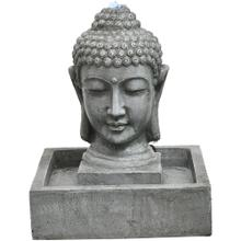 See Details - Hanover 20.5-In. Buddha Head Indoor or Outdoor Garden Fountain with LED Lights for Patio, Deck, Porch, HAN018BUDDHA-01