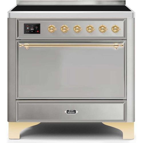 Ilve - Majestic II 36 Inch Electric Freestanding Range in Stainless Steel with Brass Trim