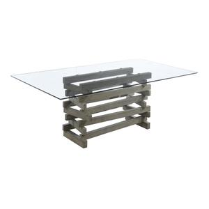D83315k In By Emerald Home Furnishings In Lisbon Me Emerald Home Jenga Complete Dining Table Rectangular Glass Top Wood Base Driftwood Finish