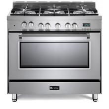 """View Product - Stainless Steel 36"""" Dual Fuel Single Oven Range - Prestige Series"""