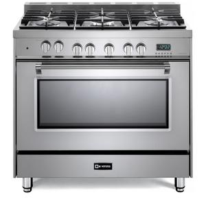 "Stainless Steel 36"" Dual Fuel Single Oven Range - Prestige Series Product Image"