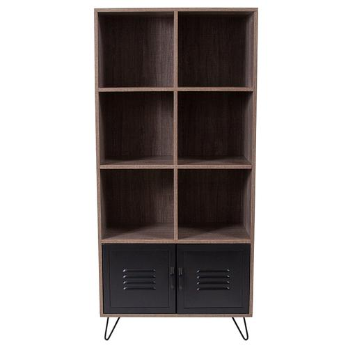 """Flash Furniture - Woodridge Collection 59.25""""H 6 Cube Storage Organizer Bookcase with Metal Cabinet Doors and Metal Legs in Rustic Wood Grain Finish"""
