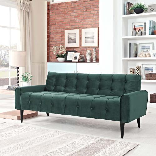 Modway - Delve Performance Velvet Sofa in Green