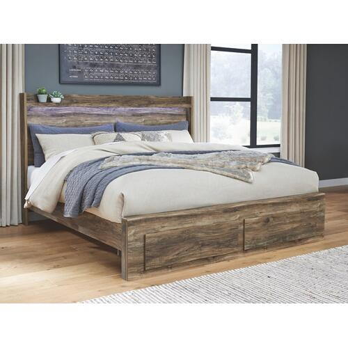 Rusthaven King Panel Bed With 2 Storage Drawers