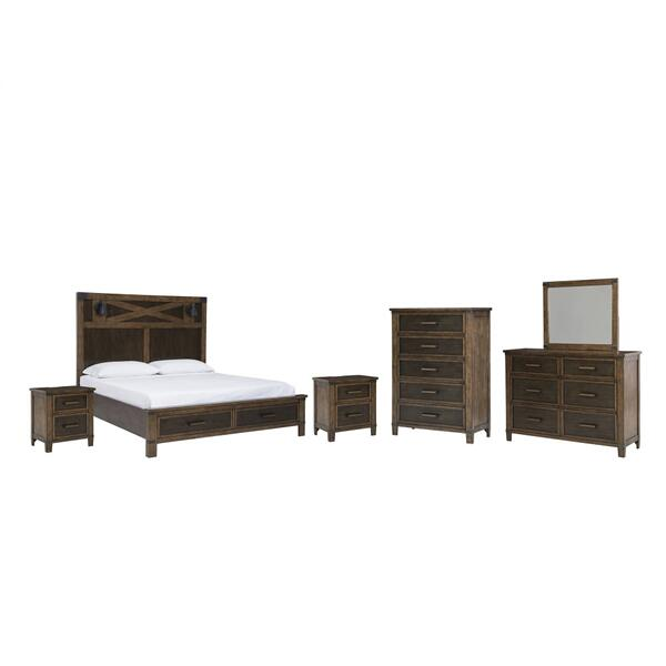 Queen Panel Bed With Storage With Mirrored Dresser, Chest and 2 Nightstands