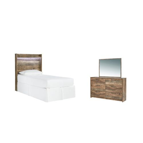 Twin Panel Headboard With Mirrored Dresser