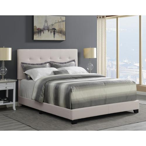 Button Tufted Full Upholstered Bed in Light Gray