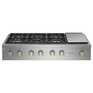 """MonogramMonogram 48"""" Professional Gas Rangetop with 6 Burners and Griddle (Natural Gas)"""