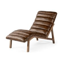 See Details - Pierre Whiskey Genuine Leather Armless Chaise Lounge Chair