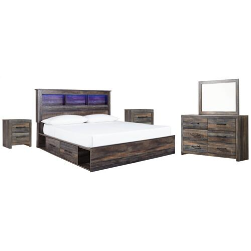 Ashley - King Bookcase Bed With 2 Storage Drawers With Mirrored Dresser and 2 Nightstands