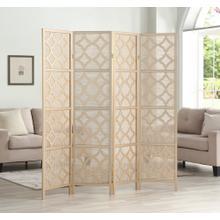 See Details - Quarterfoil infused Diamond Design 4-Panel Room Divider, Gold