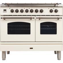 View Product - Nostalgie 40 Inch Dual Fuel Liquid Propane Freestanding Range in Antique White with Bronze Trim
