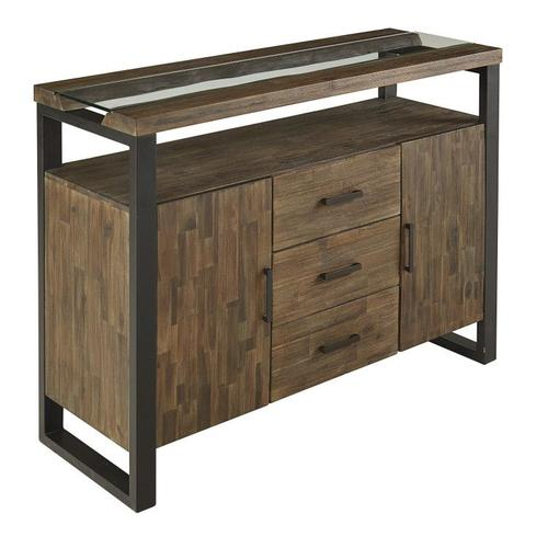 Standard Furniture - Dumont Sideboard, Brown Mahogany Finish with Black Metal Base