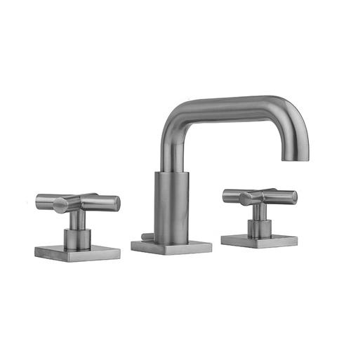 Product Image - Satin Nickel - Downtown Contempo Faucet with Square Escutcheons & Contempo Slim Cross Handles & Fully Polished & Plated Pop-Up Drain