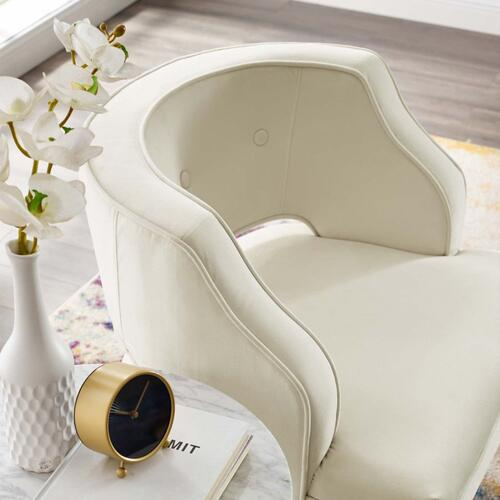 Traipse Button Tufted Open Back Performance Velvet Armchair in Ivory