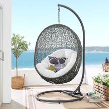 Hide Outdoor Patio Swing Chair With Stand in Gray White