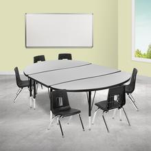 """76"""" Oval Wave Collaborative Laminate Activity Table Set with 14"""" Student Stack Chairs, Grey\/Black"""