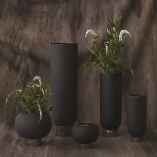 Silver Banded Vase-Black-Sm