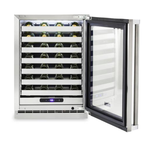 24 W. Stainless Steel Interior Undercounter Wine Cellar VUWC Viking Professional Product Line