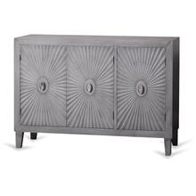 Grey Wooden Starburst Cabinet  33in X 47in X 16in  Three Door Cabinet